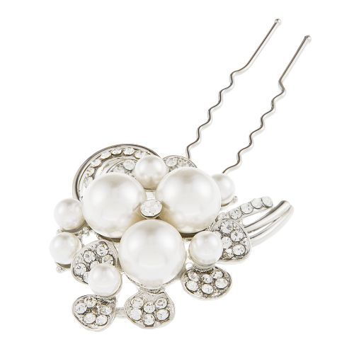 Helena Luxury crystal bridal hair pin, pearl wedding hair pin